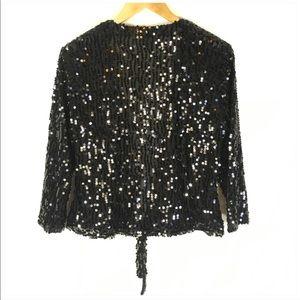 Chico's Tops - Chico's Black Sequin Tie Front Wrap Jacket Size 8